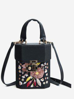 Floral Embroidered Casual Handbag - Black