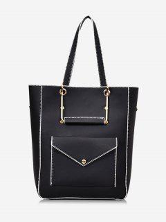Big Capacity PU Leather Casual Tote Bag - Black