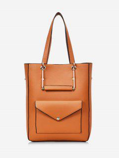 Big Capacity PU Leather Casual Tote Bag - Brown