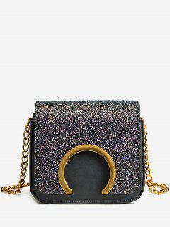 Metal Detail Paillette Mini Crossbody Bag - Black