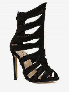 Roman Gladiator Peep Toe High Heel Sandals - Black 38