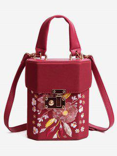 Floral Embroidered Casual Handbag - Red