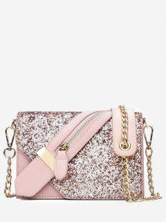 Paillette Zip Decorate PU Leather Shoulder Bag - Pink