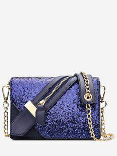 Paillette Zip Decorate PU Leather Shoulder Bag - Blue