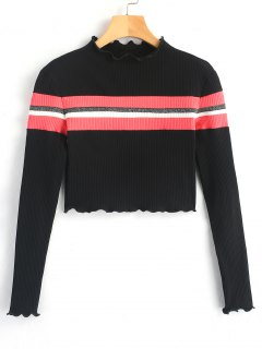Stripes Panel Ribbed Knit Top - Black L