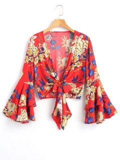 Tied Floral Bell Sleeve Top - Red L