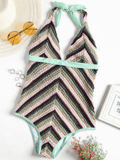 Zigzag Crochet Halter One Piece Swimsuit - Mint L