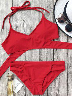 Cutout Halter Wrap Bikini Set - Red L