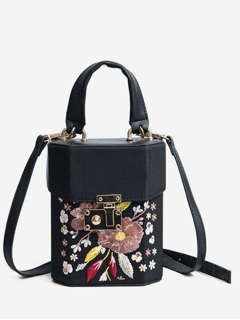 hot Floral Embroidered Casual Handbag - BLACK  Mobile