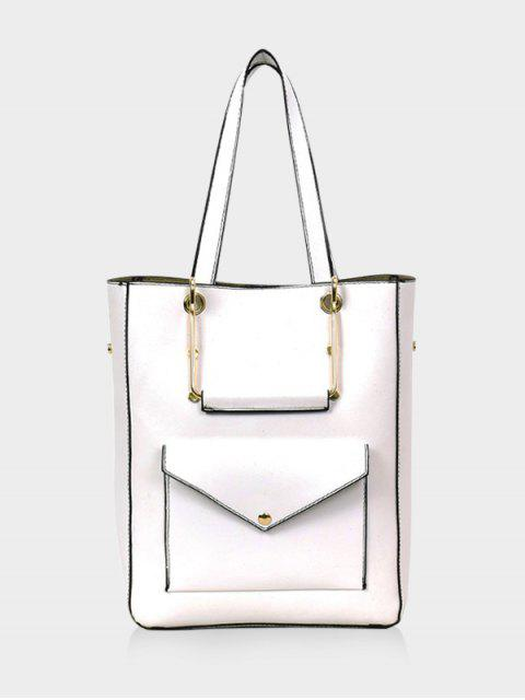 outfit Big Capacity PU Leather Casual Tote Bag - WHITE  Mobile
