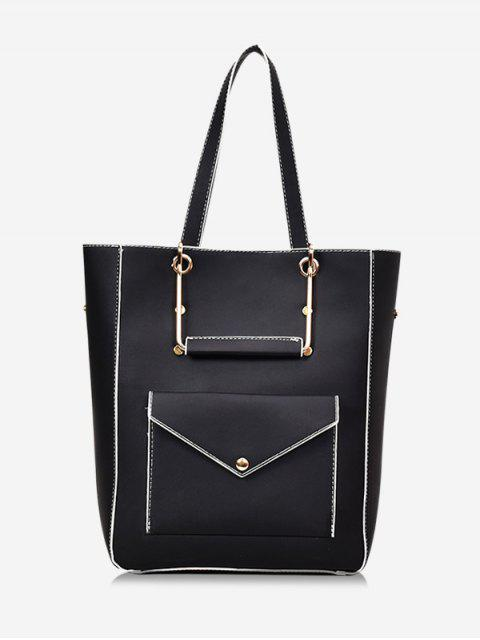 outfits Big Capacity PU Leather Casual Tote Bag - BLACK  Mobile