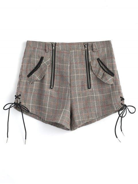 Zip Up Lace Up Shorts de cuadros - Gris S Mobile