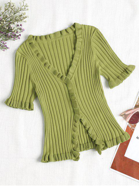 chic V Neck Ruffles Ribbed Cardigan - GREEN M Mobile