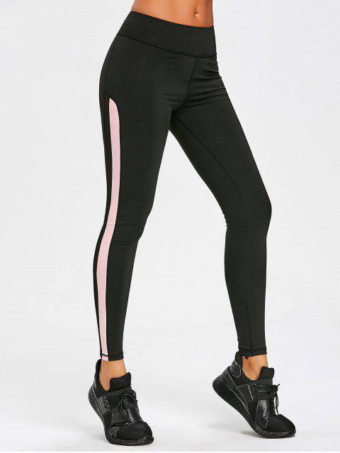 women Mesh Insert Sports Leggings - PINK S Mobile