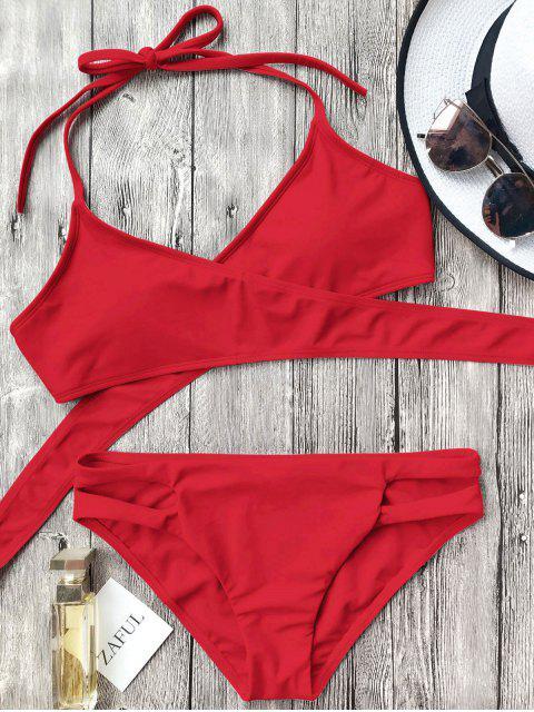 Conjunto de bikini con corte halter recortable - Rojo L Mobile