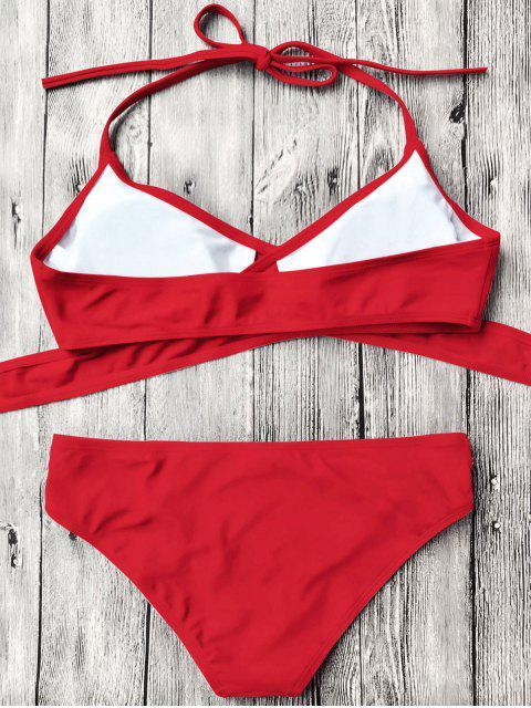 shop Cutout Halter Wrap Bikini Set - RED M Mobile