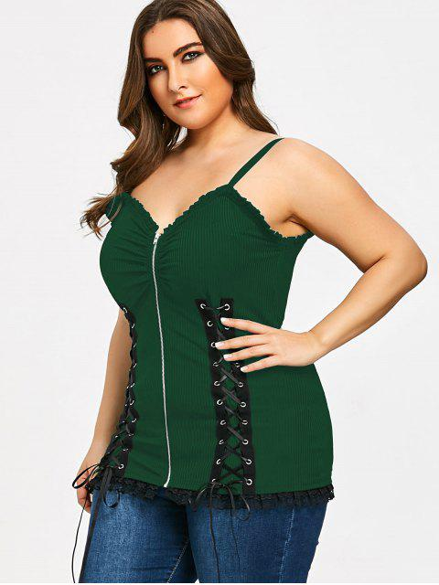 fancy Criss Cross Zipper Up Plus Size Slip Top - GREEN XL Mobile