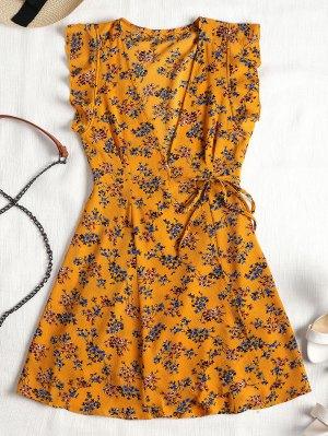 Ruffles Wrap Floral Mini Dress - Mustard M