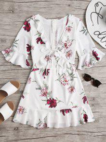 فستان ميني قصير مزين بالزهور - أبيض L