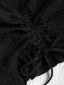 De S Recortada Camiseta Sin Negro Recolectados Mangas Volantes t0wq6WqpS