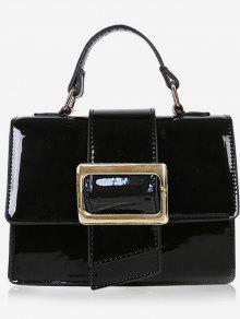 حقيبة يد مزججة مع حزام كتف - أسود