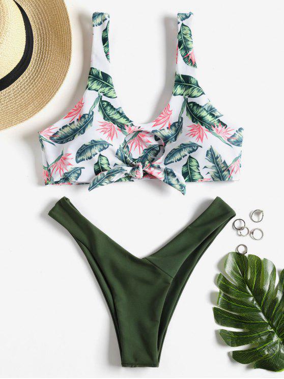 shop Knotted Leaf Print Thong Bikini - ARMY GREEN M