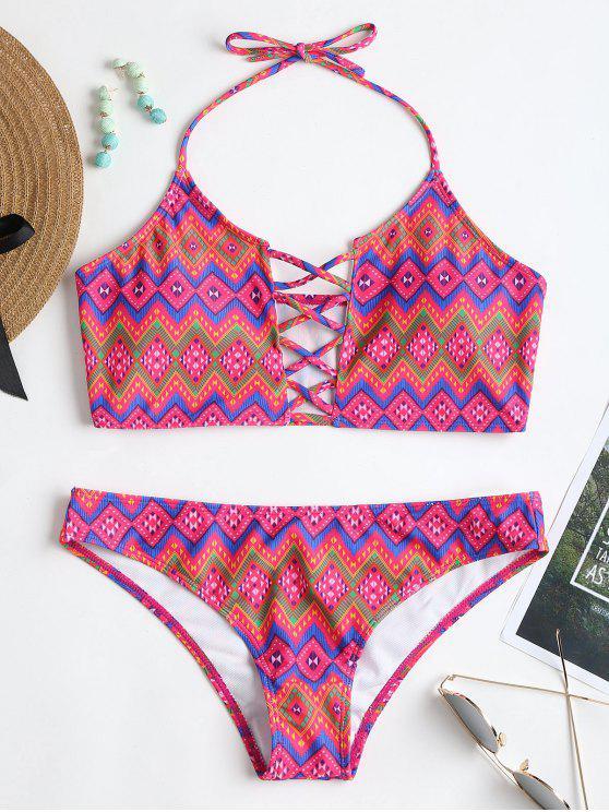 Conjunto de bikini cruzado con estampado de argyle Halter - Colores Mezclados S