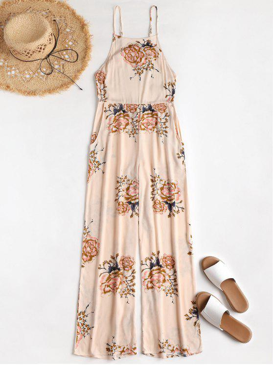 latest Apron Neck Floral Beach Jumpsuit - APRICOT S