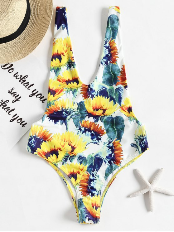 07bc3f1f11 55% OFF  2019 Open Back Sunflower One Piece Swimsuit (Random Print ...