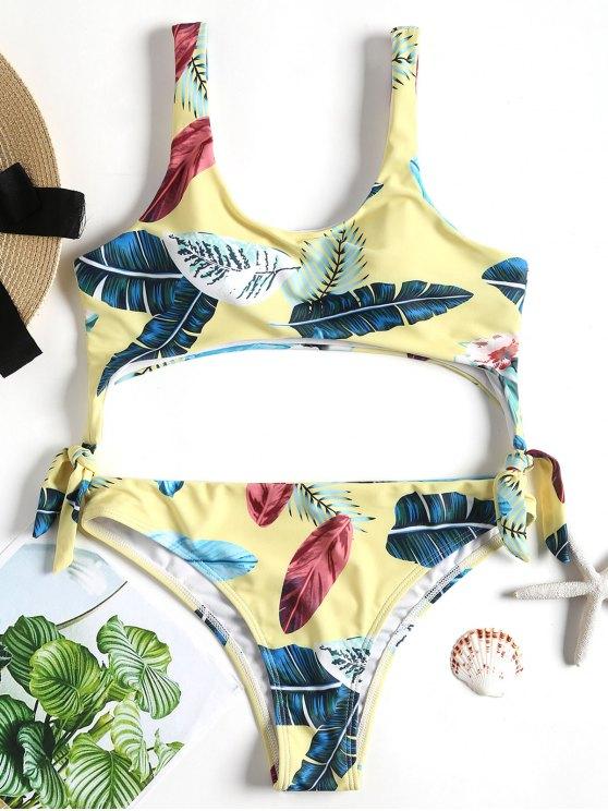 Costume Da Bagno Imbottito Con Foglia Tropicale - Giallo L