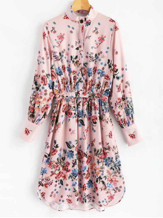 affordable Half Buttoned Floral Shirt Dress - FLORAL S