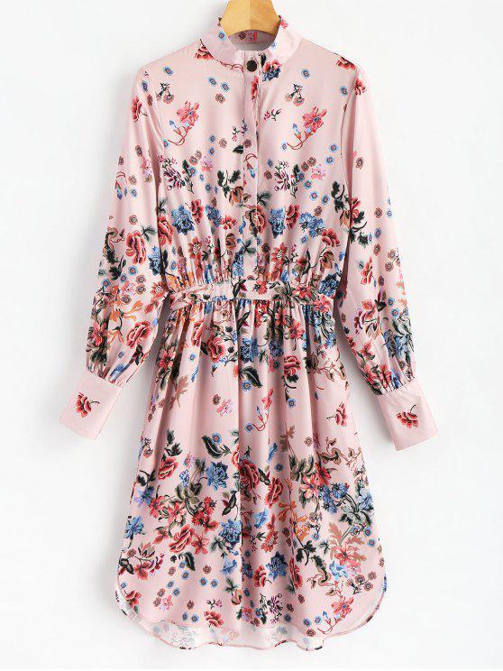 womens Half Buttoned Floral Shirt Dress - FLORAL L