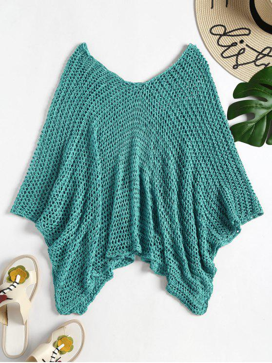 womens Crochet Beach Poncho - TURQUOISE GREEN ONE SIZE