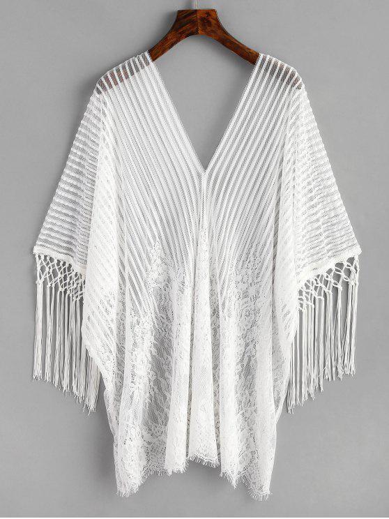 outfit Fringe Lace Kaftan - WHITE ONE SIZE
