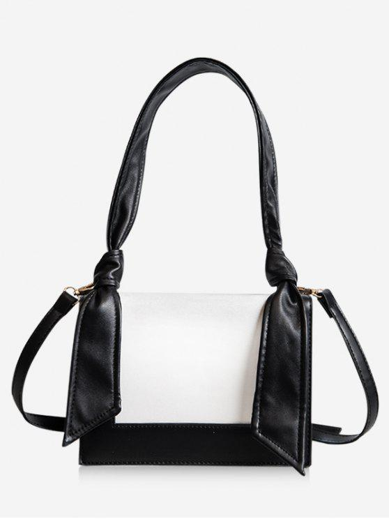 latest Minimalist Contrasting Color Shoulder Bag - BLACK