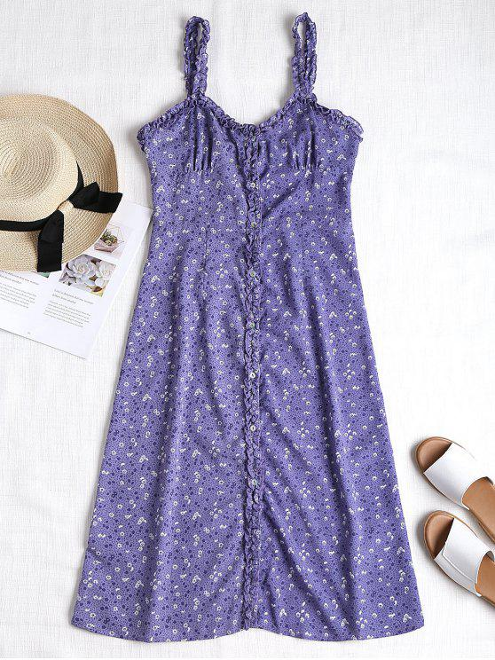 hot Button Through Floral Print A Line Dress - PURPLE S