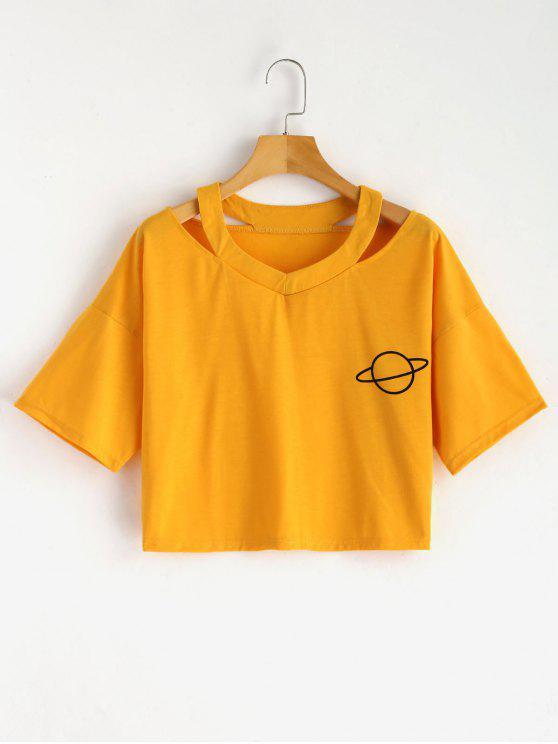 T-shirt Découpé à Imprimé Planète - Moutarde  S