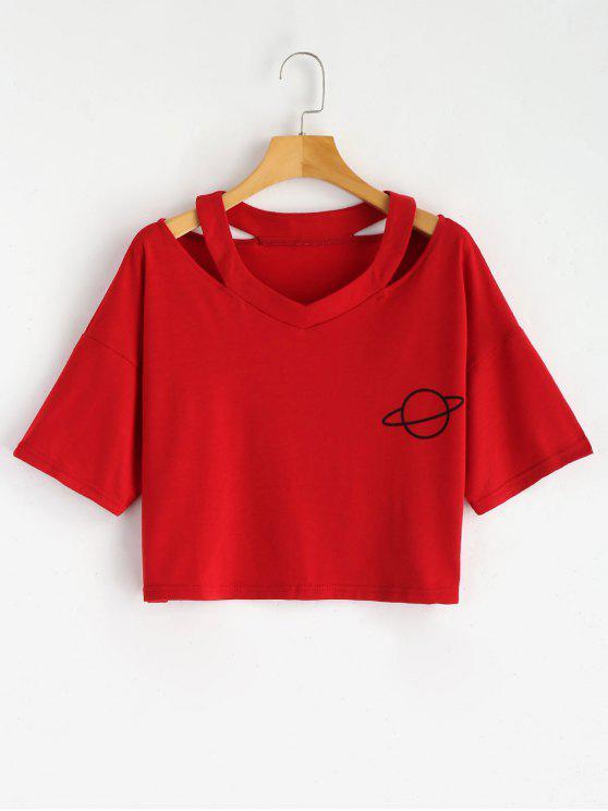 T-shirt Tagliata Corta Con Stampa Di Pianeta - Rosso S
