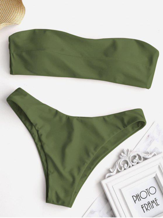 Conjunto de bikini palabra de honor anudado - Ejercito Verde M