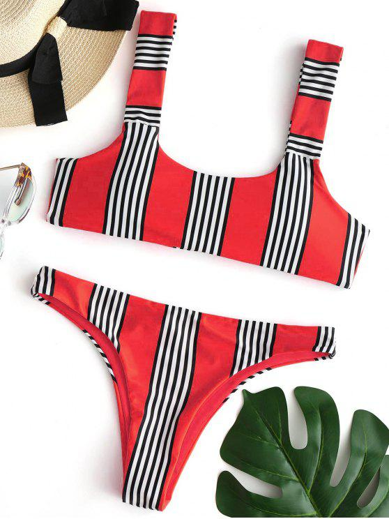 chic Striped Padded Bikini Set - RED S
