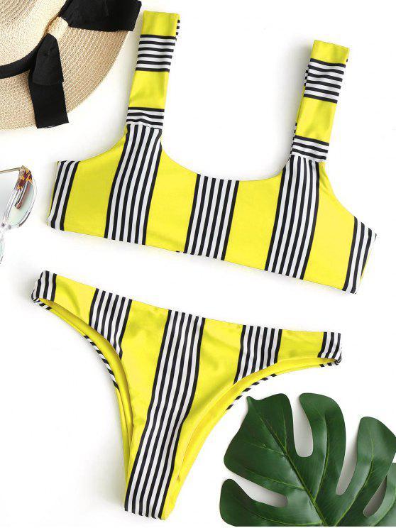 Gestreiftes gepolstertes Bikini Set - Gelb L