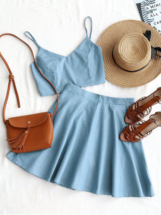 Smocked Crop Cami Top e saia Set - Azul claro S