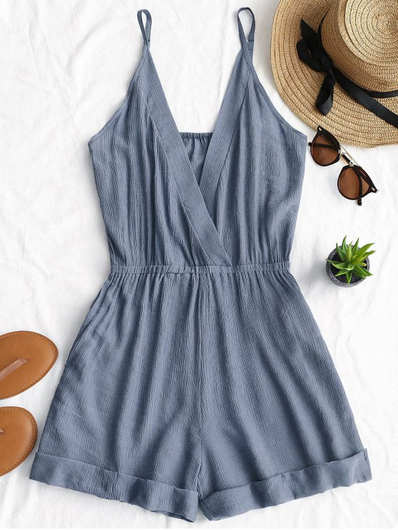 outfits Rolled Up Hem Cross Front Romper - BLUE GRAY S