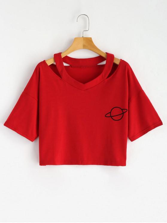T-shirt Découpé à Imprimé Planète - Rouge S