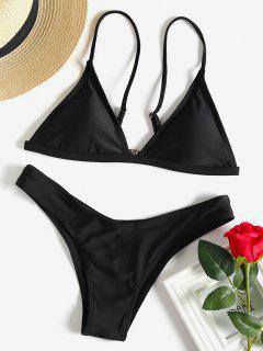 Haut Bikini Rembourré Avec T-String - Noir M