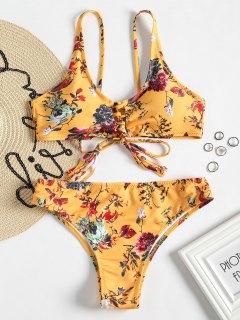 Conjunto De Bikini De Encaje Con Cordones De Corte Alto - Amarillo M