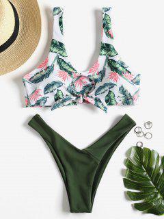 Knotted Leaf Print Thong Bikini - Army Green S
