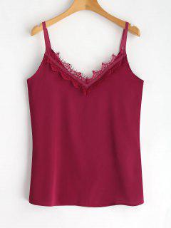 Scalloped Lace Panel Tank Top - Purplish Red Xl