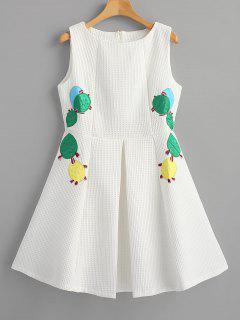Vestido De Fiesta Apliques De Cactus Con Textura - Blanco M