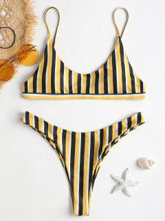High Cut Thong Striped Bathing Suit - Yellow And Black L